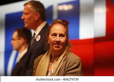 NEW YORK CITY - APRIL 6 2016: mayor Bill de Blasio joined United Federation of Teachers president Michael Mulgrew to rally volunteers for Hillary Clinton. Manhattan borough president Gale Brewer