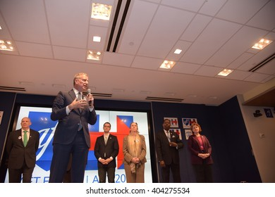 NEW YORK CITY - APRIL 6 2016: mayor Bill de Blasio joined United Federation of Teachers president Michael Mulgrew. Mayor Bill de Blasio