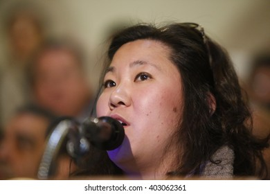 NEW YORK CITY - APRIL 7 2016: NYC mayor Bill Clinton led an array of local & state leaders in a rally to denounce the Trans Pacific Partnership. Representative Grace Meng