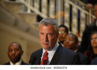 NEW YORK CITY - APRIL 7 2016: NYC mayor Bill Clinton led an array of local & state leaders in a rally to denounce the Trans Pacific Partnership. Mayor Bill de Blasio