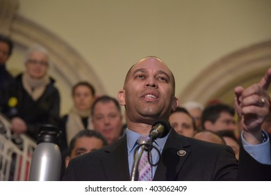 NEW YORK CITY - APRIL 7 2016: NYC mayor Bill Clinton led an array of local & state leaders in a rally to denounce the Trans Pacific Partnership. Representative Hakim Jeffries