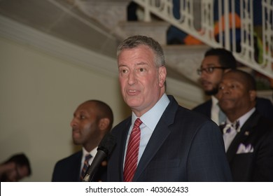 NEW YORK CITY - APRIL 7 2016: NYC mayor Bill Clinton led an array of local & state leaders in a rally to denounce the Trans Pacific Partnership. Mayor Bill de Blasio,