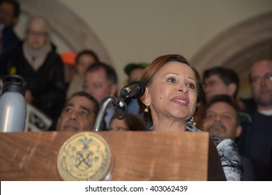 NEW YORK CITY - APRIL 7 2016: NYC mayor Bill Clinton led an array of local & state leaders in a rally to denounce the Trans Pacific Partnership. Representative Nydia Velazquez.