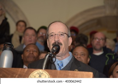 NEW YORK CITY - APRIL 7 2016: NYC mayor Bill Clinton led an array of local & state leaders in a rally to denounce the Trans Pacific Partnership. Representative Elliot Engel