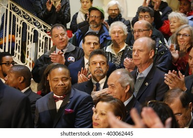 NEW YORK CITY - APRIL 7 2016: NYC mayor Bill Clinton led an array of local & state leaders in a rally to denounce the Trans Pacific Partnership.