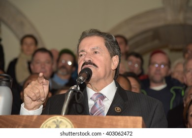 NEW YORK CITY - APRIL 7 2016: NYC mayor Bill Clinton led an array of local & state leaders in a rally to denounce the Trans Pacific Partnership. Representative Jose Serrano