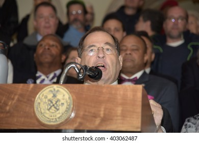 NEW YORK CITY - APRIL 7 2016: NYC mayor Bill Clinton led an array of local & state leaders in a rally to denounce the Trans Pacific Partnership. Representative Jerrold Nadler,