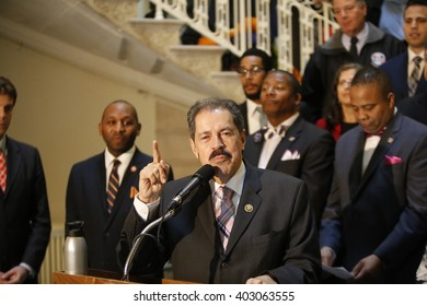 NEW YORK CITY - APRIL 7 2016: NYC mayor Bill Clinton led an array of local & state leaders in a rally & press conference in city hall to denounce the Trans Pacific Partnership. Jose Serrano