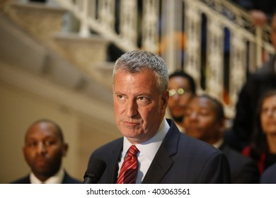 NEW YORK CITY - APRIL 7 2016: NYC mayor Bill Clinton led an array of local & state leaders in a rally & press conference in city hall to denounce the Trans Pacific Partnership. Mayor Bill de Blasio