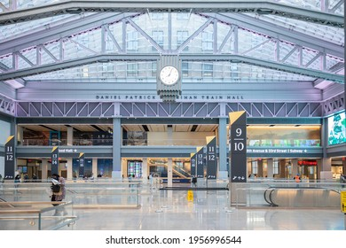 New York City - April 8 2021: Interior of the Moynihan Train Hall at Pennsylvania Train Station in Midtown Manhattan, NYC