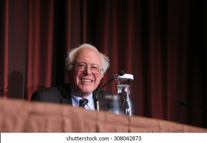 NEW YORK CITY - APRIL 8 2015: Vermont senator & presidential candidate Bernie Sanders attends National Action Network convention in Midtown Manhattan