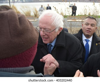NEW YORK CITY - APRIL 8 2016: Senator Bernie Sanders addressed a rally in Greenpoint, Brooklyn's WNYC Transmitter Park.