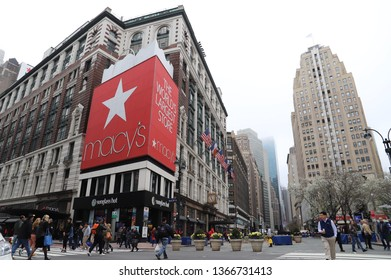 NEW YORK CITY APRIL 9 2019: Macy's Herald Square Flagship Department Store in Midtown Manhattan