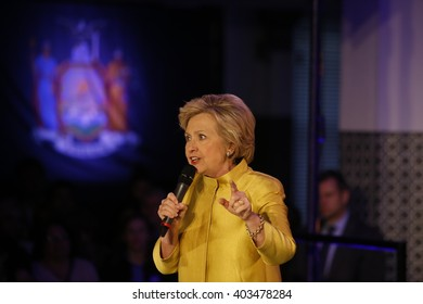 NEW YORK CITY - APRIL 9 2016: Democratic presidential candidate Hillary Clinton campaigned in Sunset Park, Brooklyn, appearing with Congressional representative Nydia Velazquez.