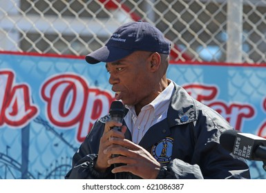 NEW YORK CITY - APRIL 9 2017: Luna Park in Coney Island celebrated its formal opening day for the 2017 season. Brooklyn borough president Eric Adams