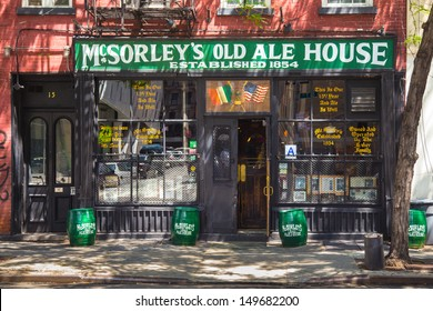 NEW YORK CITY -AUG 2:  Historic McSorley's Old Ale House in New York City seen on August 2, 2013.  This landmark tavern established in Manhattan's East Village in 1854 is New York City's oldest pub.