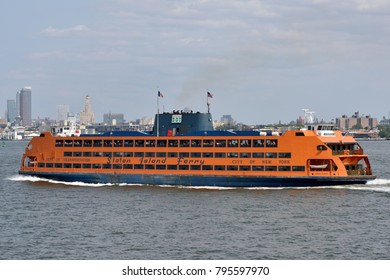 NEW YORK CITY - AUG. 27: Staten Island Ferry on August 27, 2017 in New York City, NY. Staten Island Ferry is a passenger ferry service operated by New York City Department of Transportation