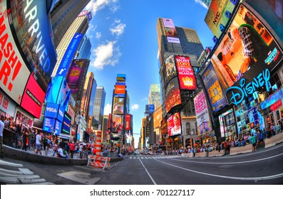 NEW YORK CITY, AUG 8: Colorful HDR fisheye image of an empty road at the famous Times Square in Manhattan. NYC, USA August 8, 2017