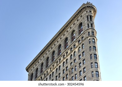 New York City - August 1, 2015: Flat Iron building facade. Completed in 1902, it is considered to be one of the first skyscrapers ever built.