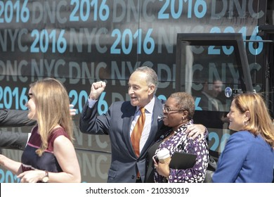 NEW YORK CITY - AUGUST 11 2014: Led by US Senator Charles Schumer local officials brought Democratic National Committee members to Barclays Center, Brooklyn, to persuade them to set the 2016 DNC there