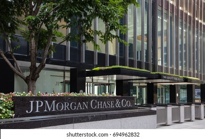 New York City, New York - August 12, 2017 JP Morgan Chase office building at 270 Park Avenue in midtown Manhattan
