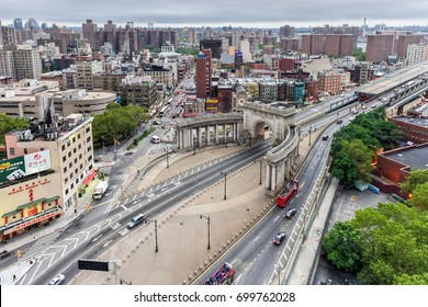 New York City - August 12, 2017: Manhattan Bridge Arch and Colonnade Entrance in New York, USA