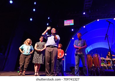 NEW YORK CITY - AUGUST 12 2017: BRIC sponsored its annual summer Celebrate Brooklyn concert series in Prospect Park. NY City Council member Brad Lander