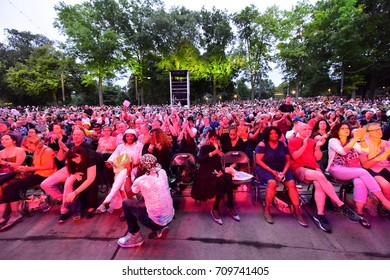 NEW YORK CITY - AUGUST 12 2017: BRIC sponsored its annual summer Celebrate Brooklyn concert series in Prospect Park