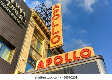 New York City - August 13, 2016: Apollo Theater in Harlem, New York City. It is one of the oldest and most famous music halls and listed on the National Register of Historic Places.