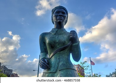 New York City - August 13, 2016: Harriet Tubman Memorial Statue in Harlem, New York. Harriet Tubman was an African-American abolitionist and humanitarian during the American Civil War.