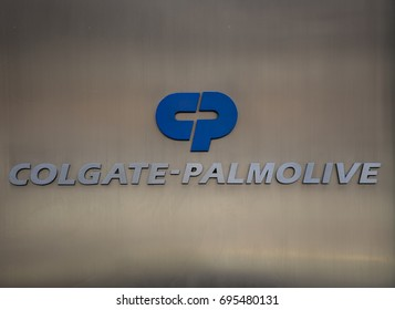 New York City, New York - August 13, 2017 Sign ad logo for Colgate Palmolive outside its midtown Manhattan headquarters The consumer products company makes household, personal & health care products