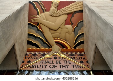 New York City - August 14, 2009:  Art deco bas relief over east entrance to the GE Building at 30 Rockefeller Center
