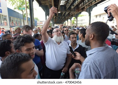 NEW YORK CITY - AUGUST 15 2016: The Muslim community held a memorial service for slain Imam Maulano Akojee & Thara Uddin in East New York followed by a march to Ozone Park, Queens