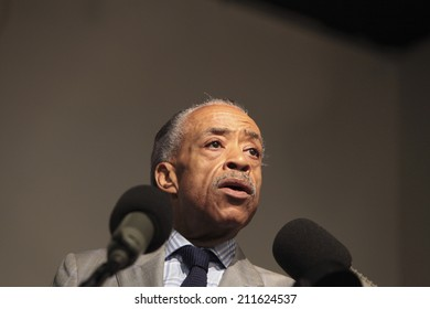 NEW YORK CITY - AUGUST 16 2014: Rev Al Sharpton's National Action Network held a rally to address the ongoing violence in Ferguson, Missouri attended by Congressman Hakeem Jeffries & the Garner family