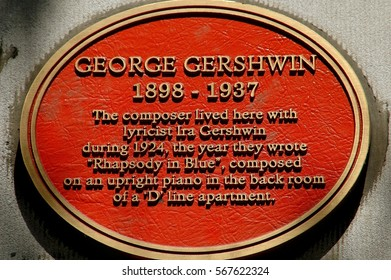 New York City - August 16, 2004:  Historic medallion at the West 110th Street apartment building where George Gershwin lived in 1924