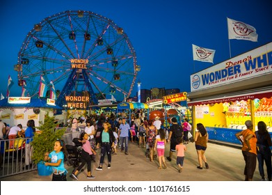 NEW YORK CITY - AUGUST 17, 2017: View from the Coney Island boardwalk of the iconic amusement park Wonder Wheel.