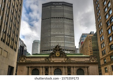 New York City - August 17, 2019: Grand Central Terminal building and the MetLife building located at 42nd Street and Park Avenue in Midtown Manhattan, New York City.