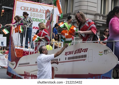 NEW YORK CITY- AUGUST 17 2014: NYC Mayor Bill De Blasio & Public Advocate Leticia James led the 33rd annual India Day Parade along Madison Ave marking 67 years of Indian Independence.