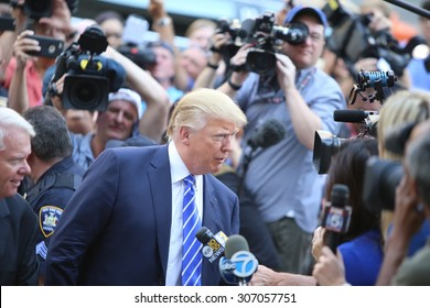 NEW YORK CITY - AUGUST 17 2015: Republican presidential nomination front runner Donald Trump arrived at 60 Centre Street for his stint at jury duty in Manhattan's supreme court.