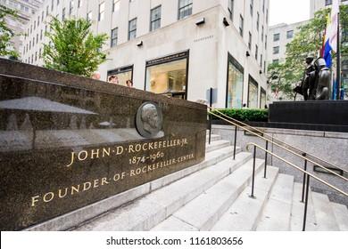 NEW YORK CITY - August 18, 2015: Memorial to American financier and philanthropist John D. Rockefeller Jr. in front of the Rockefeller Center in Manhattan