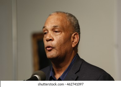 NEW YORK CITY - AUGUST 2 2016: Rev Al Sharpton held a press conference at NAN headquarters to offer reaction to NYPD commissioner Bratton's resignation. NAN counsel Michael Hardy