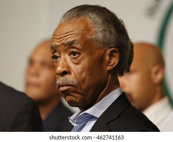 NEW YORK CITY - AUGUST 2 2016: Rev Al Sharpton held a press conference at NAN headquarters to offer reaction to NYPD commissioner Bratton's resignation.