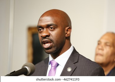 NEW YORK CITY - AUGUST 2 2016: Rev Al Sharpton held a press conference at NAN headquarters to offer reaction to NYPD commissioner Bratton's resignation. NY state assembly member Michael Blake