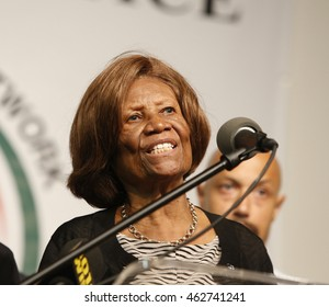 NEW YORK CITY - AUGUST 2 2016: Rev Al Sharpton held a press conference at NAN headquarters to offer reaction to NYPD commissioner Bratton's resignation. NY NAACP president Hazel Dukes
