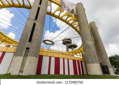 NEW YORK CITY - August 20, 2015: The New York State Pavilion, a historic world's fair pavilion at Flushing Meadows Corona Park in Flushing, Queens, with its iconic observatory towers