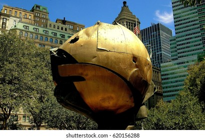New York City - August 22, 2004:  The Orb by sculptor Fritz Koenig which survived the 9-11 terror attacks relocated in Battery Park