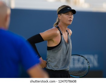 NEW YORK CITY,  - AUGUST 23 : Maria Sharapova of Russia at the 2017 US Open Grand Slam tennis tournament
