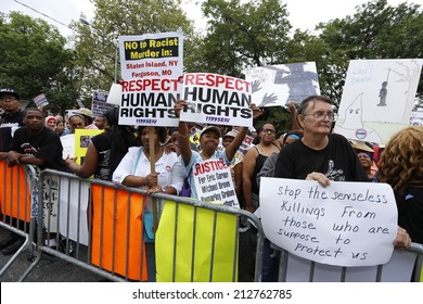 NEW YORK CITY - AUGUST 23 2014: thousands of demonstrators marched in Staten Island to demand justice for Eric Garner, Michael Brown & other alleged victims of police brutality.