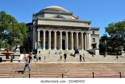 New York City - August 23, 2011:  Library of Columbia University with the famed Alma Mater statue at the center of the stairs is the focal point of the campus at West 116th Street in upper Manhattan