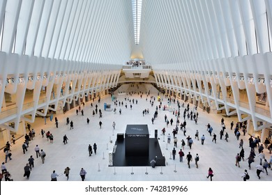 NEW YORK CITY - AUGUST 23: interior of the WTC Transportation Hub on August 23, 2017 in New York City, USA. The main station house, the Oculus, opened on March 4, 2016.